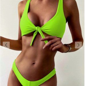 Tie Front High Leg Tank Bikini Swimsuit